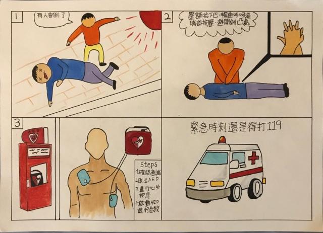 AED與CPR使用情況-緊急救護四格漫畫創意徵選活動