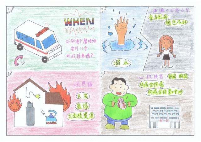 撥打119使用救護車的時機-緊急救護四格漫畫創意徵選活動