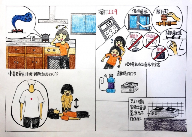 當您一氧化碳中毒時-緊急救護四格漫畫創意徵選活動