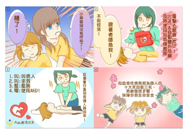 了解CPR&AED-緊急救護四格漫畫創意徵選活動