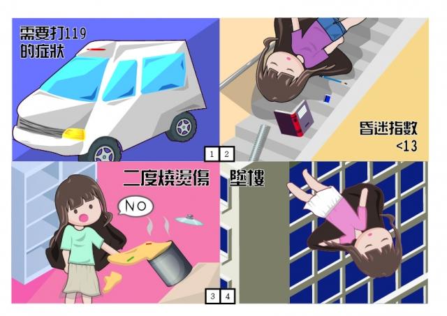 認識需要打119的症狀-緊急救護四格漫畫創意徵選活動